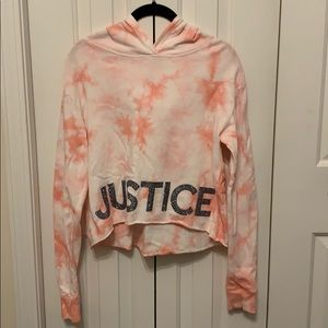 Justice tie dyed hooded shirt with glitter detail